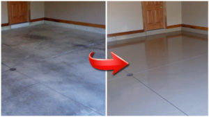 Epoxy garage floor before and after Perth Northern Suburbs